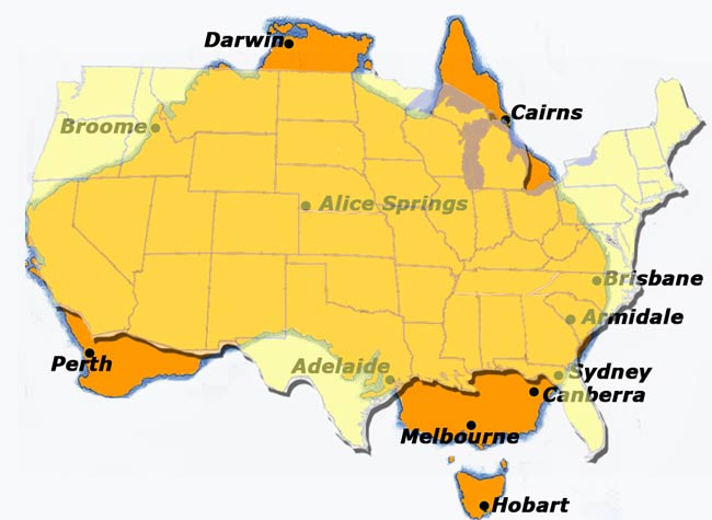 Map Of Australia And Usa.How Big Is Australia