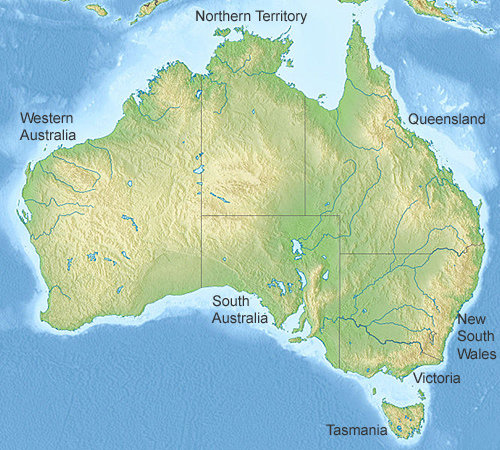 political map of australia and new zealand. Australia relief map