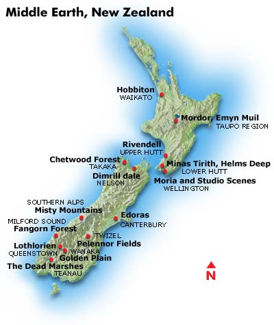 Lord Of The Rings South Island Map