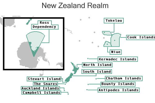 Map Of New Zealand And Surrounding Islands.The Realm Of New Zealand Map