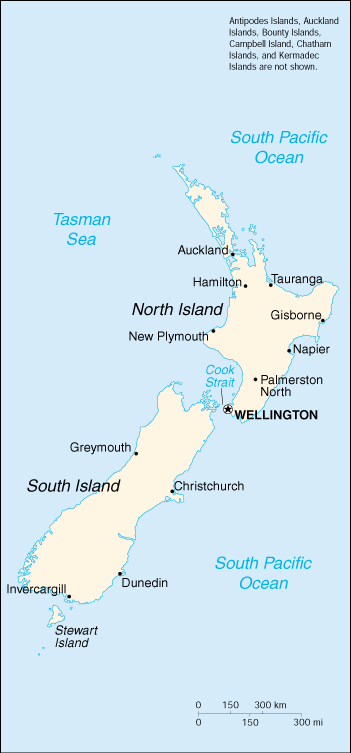 Map In New Zealand.New Zealand Basic Map